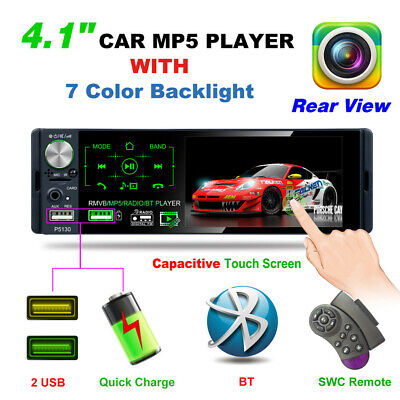Single 1Din 4.1in RDS AM FM Radio BT AUX USB TF Handsfree Car Stereo MP5 Player