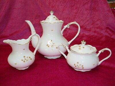 """LISSI KAPLAN, 5-PIECE BONE CHINA,TEAPOT SET"", Coral Tree Pattern, sugar&creamer"