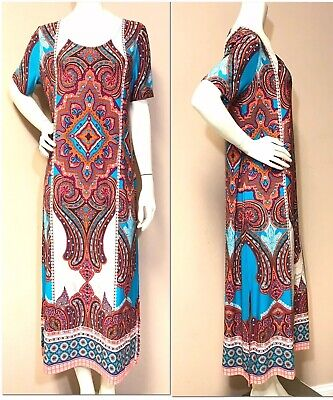 9a2459da22 NWT CHICO S  119 Vibrant Medallion Print Stretch Knit Midi Dress Size 1 (8  10