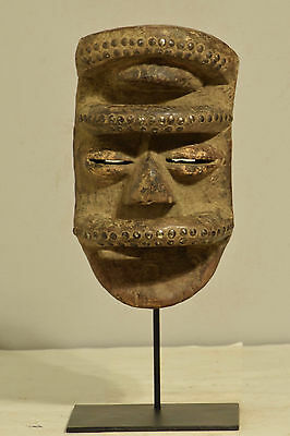 African Bete Mask Wood Brass Cote d'Ivorie Dancing Warrior Bete Mask