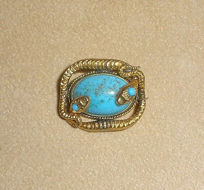 1920's Egyptian Revival Double Snake Brooch w/ Turquoise Cabochon Center Stone