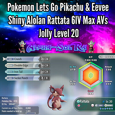 Pokemon Lets Go Pikachu & Eevee Shiny Alolan Rattata 6IV Max AVs Jolly Level 20