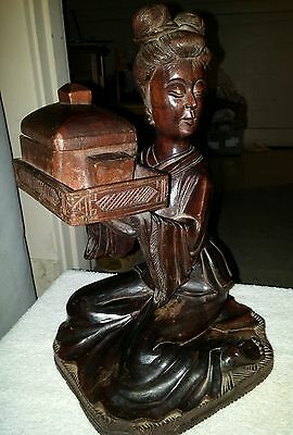 Chinese antique wooden art decor Girl Statue Carved Figurine Vintage老金丝楠木雕摆件汉唐宫女