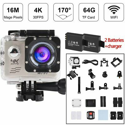16MP Full HD Sports Action Camera Wifi Waterproof Cam 2 Batteries For Gopro
