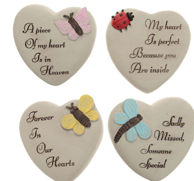 Small Memorial Grave Heart Stone Ornament Remembrance Tribute Gift for Loved One