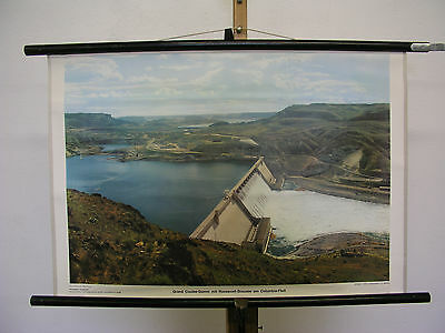 Pretty Wall Picture Grand Coulee-Damm Roosevelt-Stausee Columbia 75x51 Vintage