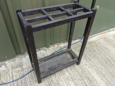 Antique 6 section walking stick / umbrella stand with drip tray TC270319D