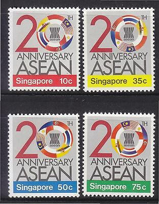 Singapore 1987 20Th Anniv. Of Asean (Flags) Comp. Set Of 4 Stamps Sc#502-505 Mnh