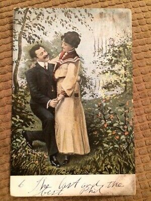 Postcard Victorian Lovers in the wooded garden 1906 New York Vintage