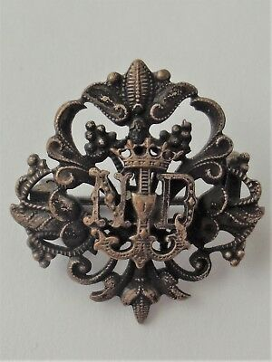 Exquisite Old Solid Silver Brooch Monogram Our Lady