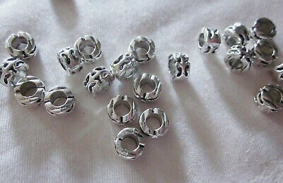 10 Silver Coloured 6mmx9mm Large Hole Spacer Beads 4.5mm Hole #3119 Findings