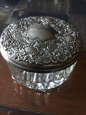 Antique Vintage Silver Plated Trinket Jewelry box Crystal bottom Mirrored Lid.