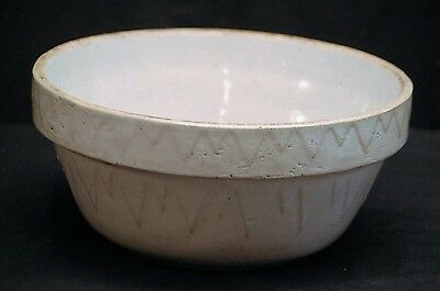 Old Antique Ruckels Pottery Inverted Pyramid Picket Fence Crock Mixing Bowl Tool