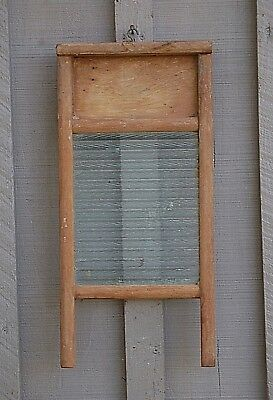 Old Vintage Antique Primitive Ribbed Glass Wooden Washboard Rustic Wall Signed