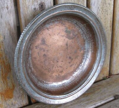 Antique Heavy Copper Bowl Tray Art Artisan Hammered Weathered Vintage Rustic