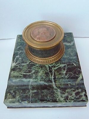 Antique French Classical Marble Base Bronze Desk Inkwell Ave Maria Medal Signed