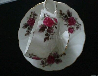 One Porcelain Teacup & Saucer set Swirl Pattern with Pink Rose Design - Unmarked