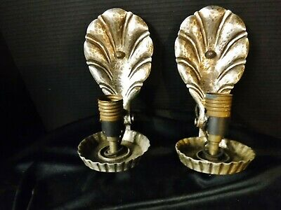 Pair Art Deco Lightolier Sconces Switched Hammered aluminum Feather? Clam Motif