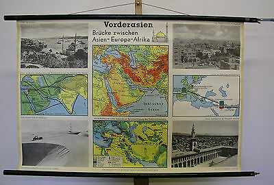 Schulwandkarte Wall Map Turkey Bosporus Asia Minor 39x26 3/8in Card ~ 1960