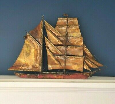 Curtis Jere Vintage Brass Sailing Ship 15 Mast Wall Sculpture Signed Dated 1970