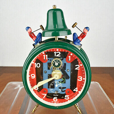 VTG Jerger Busy Boy Green Wind Up Alarm Clock West Germany FOR PARTS OR REPAIR
