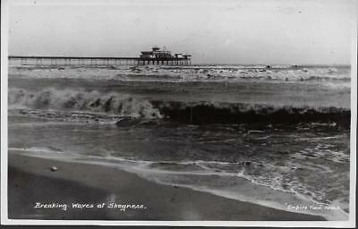 Skegness, Lincolnshire - Pier, breaking waves - RP postcard by Jamson c.1920s