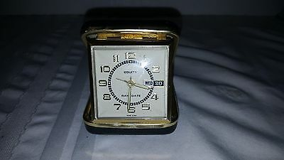 Vintage Equity Travel Alarm Clock Day & Date Wind Up Folding Case