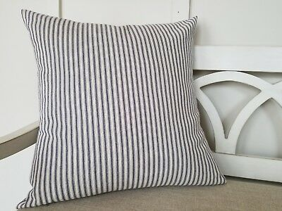 de61fe9142c3 Farmhouse Navy Blue Natural Stripe Ticking Pillow Cover 18x18 Handmade  Nautical
