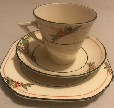 An Art Deco Vintage English China Teacup Trio