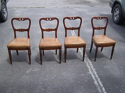 Set Of 4 Vintage Vander Ley Brothers Tufted Nailed Leather Seat Chairs