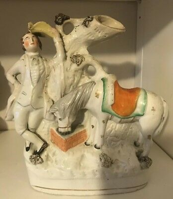 A Rare 19th Century Staffordshire Pottery Spill Vase Horse At Water