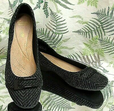 48ad653ff52 Clarks Black Gray Fabric Loafers Slip Ons Business Dress Shoes Womens Sz  9.5 M