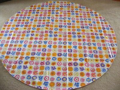 "Vintage Floral TABLECLOTH Flannel-back Vinyl Round 59"" Diameter"