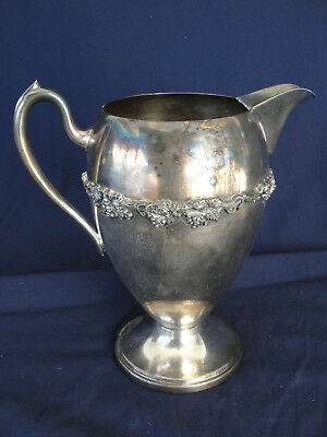 Vintage ASCO Silver Plate Water Pitcher Grape Vines Pattern