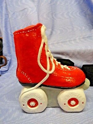 Vintage Ceramic Roller Derby Star Red Skate Coin Bank