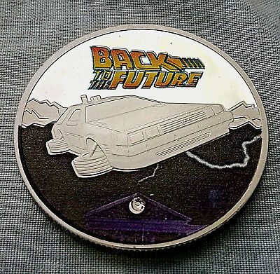 BACK TO THE FUTURE Silver Coin Time Travel Machine Colour Delorean Gem Stone USA