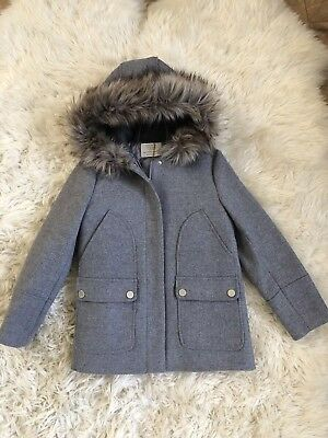 New Zara Girls Wool Blend Vintage Grey Fur Hooded Duffle Coat Jacket 9-10 Years