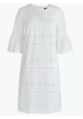 J.Crew White Cotton Flutter-Sleeve Embroidered Eyelet Shift Dress NWT Size 12