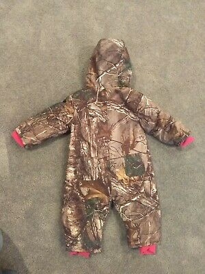 3c909db54 Baby Infant Girl's Carhartt Brown Realtree Camo & Pink, Hooded Snowsuit -  sz 12M