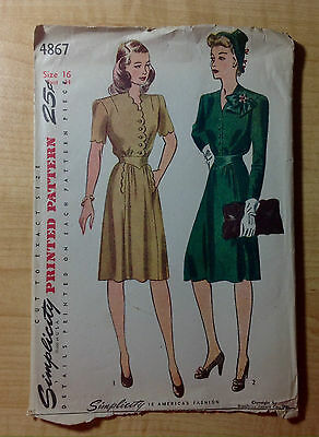 Vintage 1940s 1950s SIMPLICITY Sewing Pattern 4867 One-Piece Dress B34