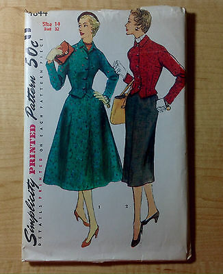 Vintage 1940s 1950s SIMPLICITY Sewing Pattern 4844 Two-piece Suit Two Skirts B32
