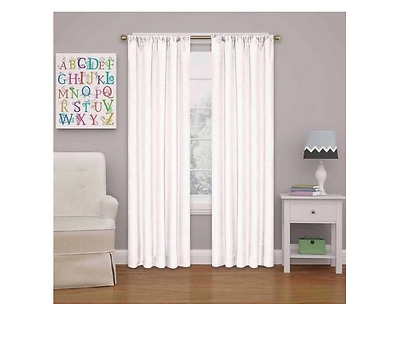 Eclipse Kids Kendall Blackout Curtain Panel White 42x54 New