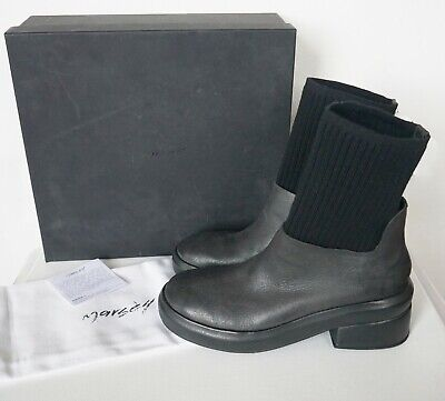 1d64084772c3  980 NIB Auth MARSELL Black Leather Round-Toe Ankle Sock Boots EUR-38 US