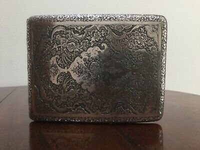 Vintage Hallmarked  Islamic  Flowers / Birds Silver Cigarette Case