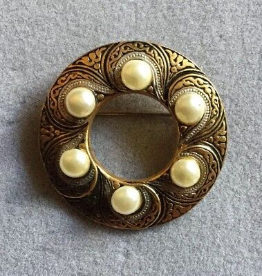 Vintage Gold Tone Damascene with Faux Pearls  Circle Brooch S070719