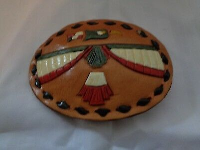 VINTAGE 1970's Leather thunderbird BELT BUCKLE Stitched  Oval