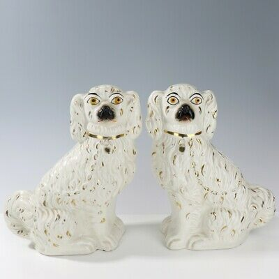 Pair of Antique White with Gilt Staffordshire King Charles Spaniel Fireside Dogs