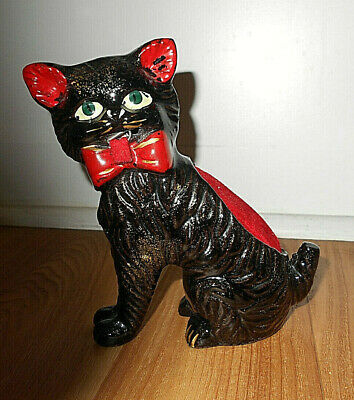 Vintage Redware Black Cat Figurine Pin Cushion W/Tape Measure Japan 1950'S