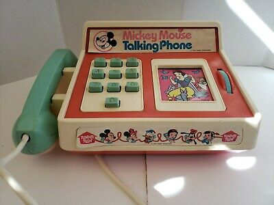 4830f4dae65a6e Vintage Romper Room Mickey Mouse Club Talking Phone In Original Box #586