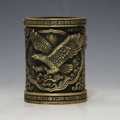 CHINESE Old BRASS Pen holder HAND-CARVED EAGLE BRUSH POT statue RT